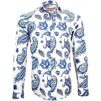 Vêtements Homme Chemises manches longues Andrew Mc Allister chemise imprimee paysley bleu Bleu