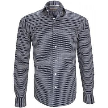 Vêtements Homme Chemises manches longues Emporio Balzani chemise col italien gaetano bleu Bleu