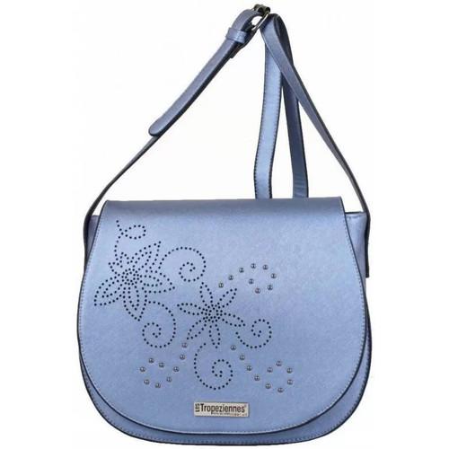 Sacs Femme Sacs Bandoulière Les Tropéziennes par M Belarbi Sac à rabat Tropéziennes motif fleur bleu métallisé bleu