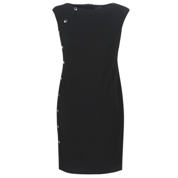 Vêtements Femme Robes courtes Lauren Ralph Lauren BUTTON-TRIM CREPE DRESS Noir
