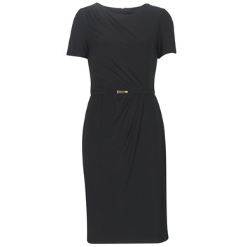 Vêtements Femme Robes longues Lauren Ralph Lauren BELTED SHORT SLEEVE DRESS Noir