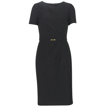 Vêtements Femme Robes longues Button-trim Crepe Dress BELTED SHORT SLEEVE DRESS Noir