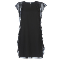 Vêtements Femme Robes courtes Lauren Ralph Lauren RUFFLED GEORGETTE DRESS Noir