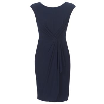 Vêtements Femme Robes courtes Button-trim Crepe Dress RUCHED CAP SLEEVE DRESS Marine