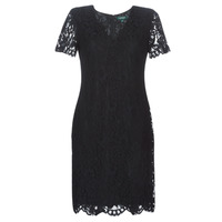 Vêtements Femme Robes courtes Button-trim Crepe Dress SCALLOPED LACE DRESS Noir
