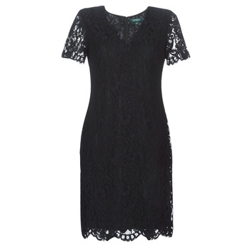 Vêtements Femme Robes courtes Lauren Ralph Lauren SCALLOPED LACE DRESS Noir