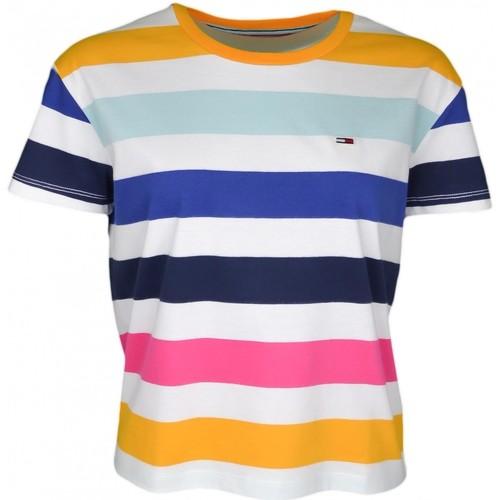 Vêtements Femme T-shirts manches courtes Tommy Jeans T-shirt col rond  à rayures multicolore pour femme Multicolore