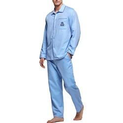 Vêtements Homme Pyjamas / Chemises de nuit Impetus Pyjama homme long en coton Bonaire bleu Bleu