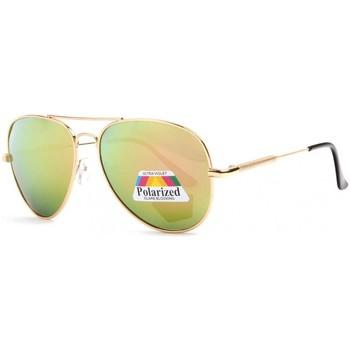 Montres & Bijoux Lunettes de soleil Eye Wear Lunettes de soleil polarisees Miroir Aviateur Dorees Fury Jaune