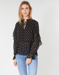 Vêtements Femme Tops / Blouses Maison Scotch SHEER PRINTED TOP WITH RUFFLES Noir