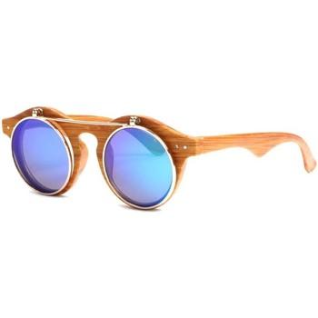 Montres & Bijoux Lunettes de soleil Soleyl Lunettes soleil Rondes Miroir Bleu Monture Bois Fantaisie Roby Bleu