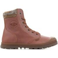 Chaussures Femme Boots Palladium Manufacture Pampa Knit LP F Marron