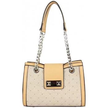 e5c0cc5341 Sacs Femme Sacs porté épaule Fuchsia Sac à main surpiqué rivet chaîne  Kolino beige Beige