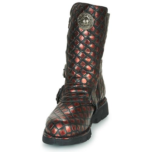 Femme Noir Chaussures Rock rouge Boots New q5AR3j4L