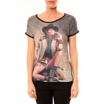 Vêtements Femme T-shirts manches courtes By La Vitrine Top Cowboy 1103 Noir Noir