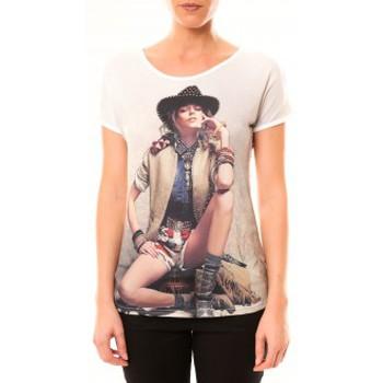 Vêtements Femme T-shirts manches courtes By La Vitrine Top Cowboy 1103 Blanc Blanc