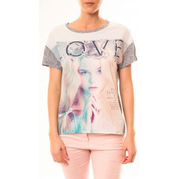 T-shirts manches courtes By La Vitrine Top Love B002 Gris