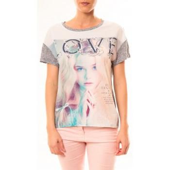 Vêtements Femme T-shirts manches courtes By La Vitrine Top Love B002 Gris Gris