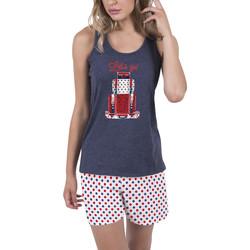 Vêtements Femme Pyjamas / Chemises de nuit Admas Tenue d'intérieur pyjama short débardeur Lets Go bleu Bleu