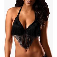Sous-vêtements Femme Triangles / Sans armatures Lascana Soutien-gorge à franges push-up Sexy Noir