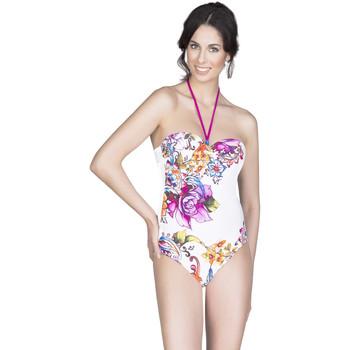 Vêtements Femme Maillots de bain 1 pièce Selmark Maillot de bain 1 pièce bustier Flores  Mare Blanc