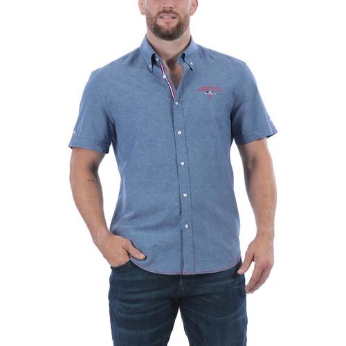 Bleu Courtes Lin Ruckfield Manches Homme Chemises Chemise France vb6fY7gyI