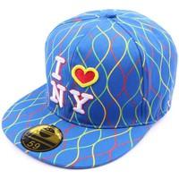 Casquettes Hip Hop Honour Casquette NY fitted Bleue avec rayures