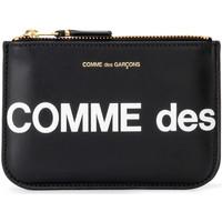 Sacs Femme Porte-monnaie Comme Des Garcons Pochette  Huge Logo en cuir noir Noir