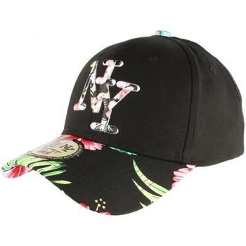 Accessoires textile Casquettes Hip Hop Honour Casquette NY Noire Fleurs Rouges Gili Baseball Fashion Tropic Noir