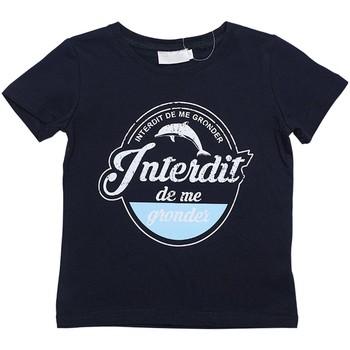 Vêtements Garçon T-shirts manches courtes Interdit De Me Gronder BLUE Bleu marine