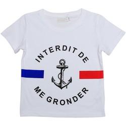 Vêtements Garçon T-shirts manches courtes Interdit De Me Gronder BABORD Blanc