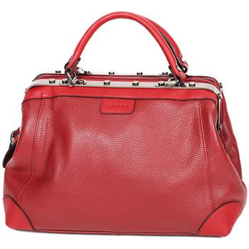 Sacs Femme Sacs porté main Katana Sac Squaremouth Cuir de Vachette 83253 - Taille S Rouge