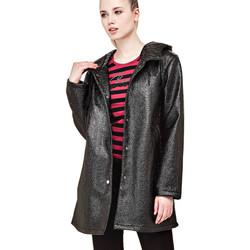 Vêtements Femme Manteaux Guess Manteau Femme Flora Noir effet métallisé 38
