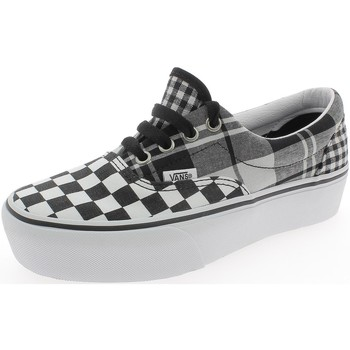 Chaussures Fille Baskets basses Vans ERA PLATFORM PLAID CHECKRBRD GRIGIE Blanc