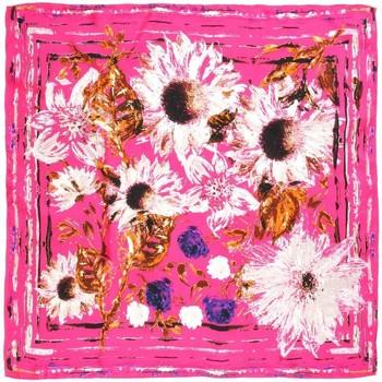 Accessoires textile Femme Echarpes / Etoles / Foulards Allée Du Foulard Carré de soie Premium Tournesols Fuchsia