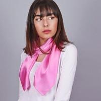 Accessoires textile Femme Echarpes / Etoles / Foulards Allée Du Foulard Carré de soie Premium Uni Rose