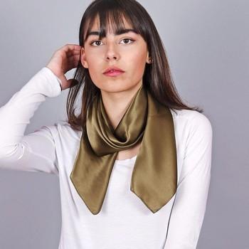 Accessoires textile Femme Echarpes / Etoles / Foulards Allée Du Foulard Carré de soie Premium Uni Marron