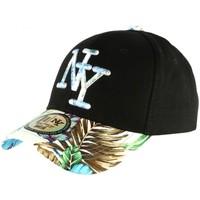 Accessoires textile Casquettes Hip Hop Honour Casquette NY Bleue et Noire Fleurs Gili Baseball Fashion Tropic Bleu
