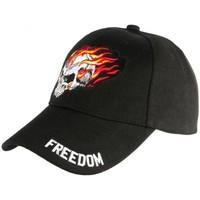 Accessoires textile Homme Casquettes Nyls Création Casquette Biker Tete de Mort Freedom Baseball Motard Noire Noir