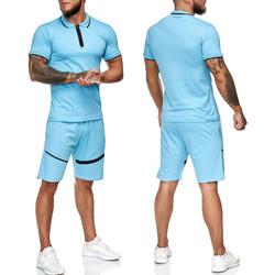 Vêtements Homme Ensembles de survêtement Monsieurmode Ensemble polo avec bermuda Ensemble 117 bleu Turquoise Bleu