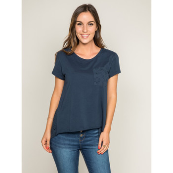 Vêtements Femme T-shirts manches courtes Dona X Lisa T-shirt col rond broderies anglaises FOCACIA Bleu marine