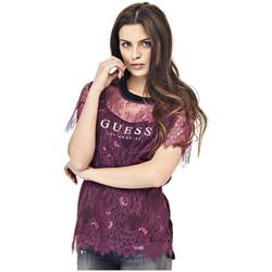Vêtements Femme Tops / Blouses Guess Top en dentelle Femme Lane W74P56 Rouge Rouge