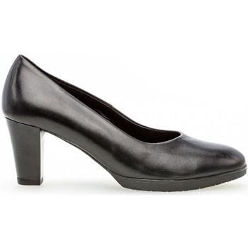 Chaussures Femme Escarpins Gabor Trotteur cuir talon  façon block Noir