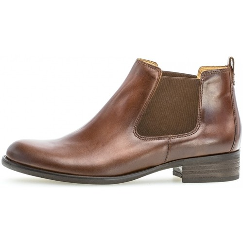 Bottine cuir talon  façon block  Gabor  bottines  femme  marron