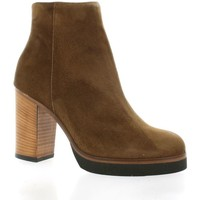 Chaussures Femme Bottines Giancarlo Boots cuir velours Cognac