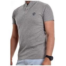 Vêtements Homme Polos manches courtes Ritchie T-shirt col tunisien NARCOS Gris chiné