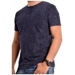 Vêtements Homme T-shirts manches courtes Ritchie T-shirt col tunisien NATOULIX Bleu marine