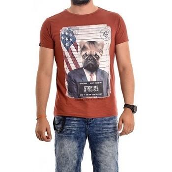 Vêtements Homme T-shirts manches courtes Ritchie T-shirt col rond coton NODJO Rouge brique