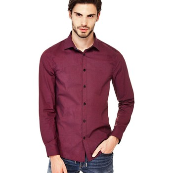 Chemise Guess Chemise Homme Manches Longues Valley Rouge
