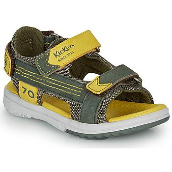 Chaussures Garçon Sandales et Nu-pieds Kickers PLANE Kaki / Jaune
